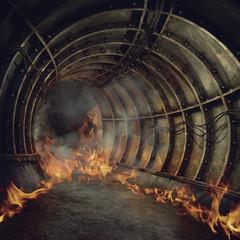 Ogień w opuszczonym tunelu