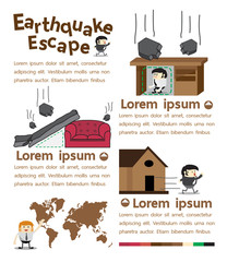 Earthquake escape infographics, Vector Illustrator