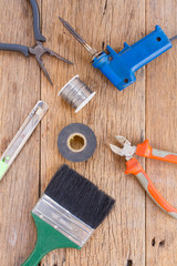 Equipment of tool on wooden background