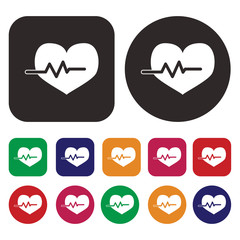 Heart beat / cardiogram / Pulse icon