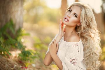 Beautiful woman face summer, skincare girl beauty