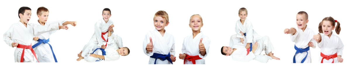 Children with different belts do methods of karate