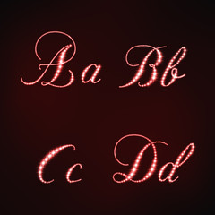 Illustration of red stars style of letters ABCD