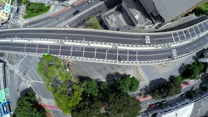 Flying over Costa e Silva Elevated Road (Minhocao) in Sao Paulo