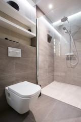 Beige toilet interior