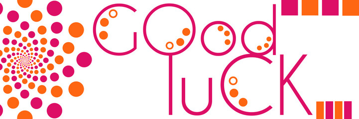 Good Luck Text Peach Pink Circles Horizontal