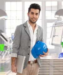 Middle-eastern man leaving architect office