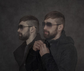 Trendy hipster guy with a beard, a photo collage
