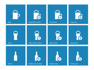 Bottle and glass of beer icons on blue background.