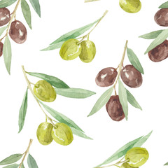 Watercolor seamless  pattern with olive branches.