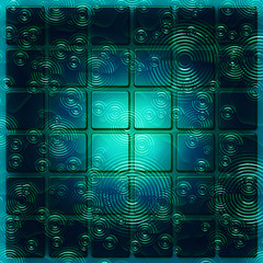 Panel of square tiles abstract in blue green with rain ripples
