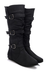 High black boots for women on a white background