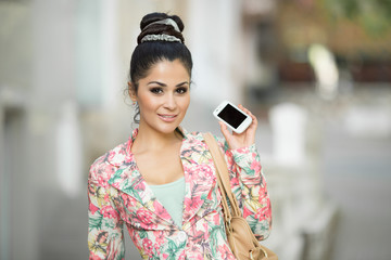 Woman talking mobile phone selfie girl  smartphone