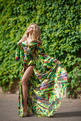 Fashionable woman blonde girl outdoor
