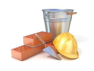 Red bricks, trowel, metal bucket and safety helmet