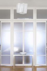 White opaque glass door