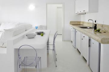 White open plan modern kitchen