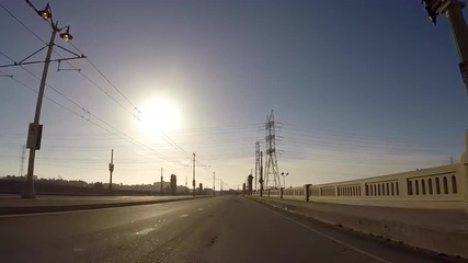 Moving shot of the 1st Street Bridge in downtown Los Angeles.
