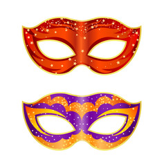Two bright fancy mask on a white background. Isolate. Vector ill