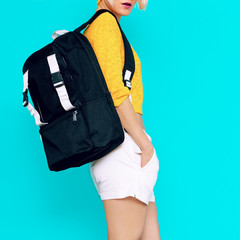 Sporty style. Model in fashionable clothes and accessories