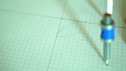 Technical Drawing With Pencil,compass