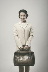 Smiling vintage businesswoman