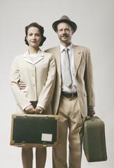 Vintage loving couple leaving for honeymoon
