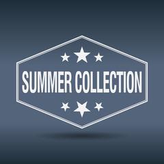 summer collection hexagonal white vintage retro style label