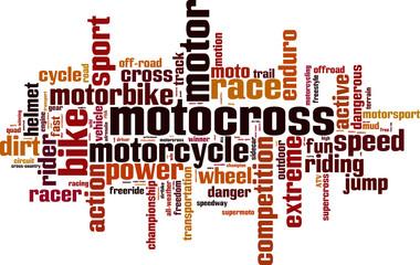 Motocross word cloud concept. Vector illustration