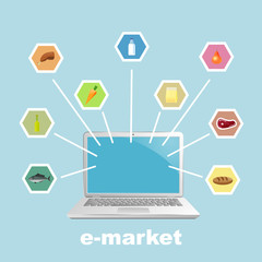Laptop with foodstuff.  Vector illustration