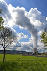 Nuclear Power Plant at Sunny Day