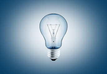 light bulp on blue background