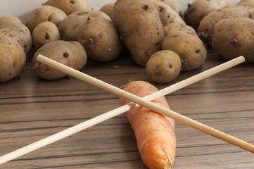 Vegetarisch mit Stäbchen