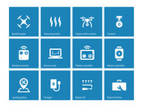 Multicopter drone icons on blue background. poster