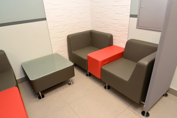 Furniture in a zone for negotiations of the personnel at office