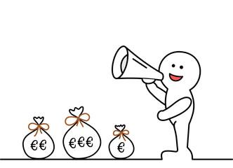 Strichmännchen Geldsäcke