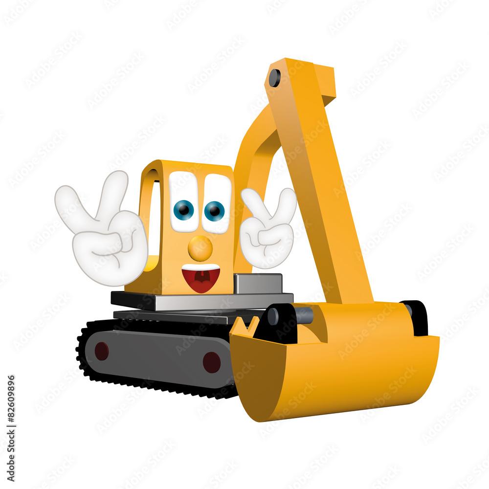 Funny Excavator Cartoon Comic Illustration Hands And Eyes  : 1000F82609896FMbOnKa7lwgVu8yFpNUCs7Y2J71EEYLJ from thestickerstudio.com size 1000 x 1000 jpeg 120kB