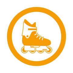 Icono redondo patinar naranja