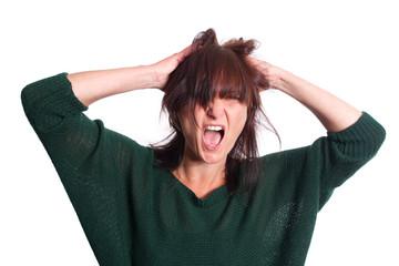 Wutanfall, schreien vor Verzweiflung - isoliert