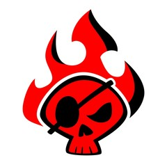 Blazing Red Pirate Skull Logo