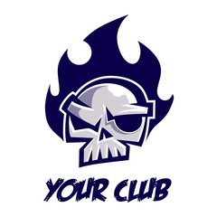 Blazing Blue Skull Flame Logo