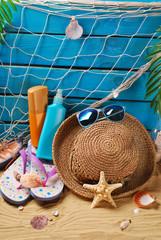 sun protection still life on the beach