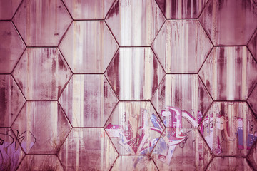 concrete wall - pattern with pink hexagons