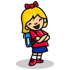 Cute Girl in School Uniform Flat Design cartoon