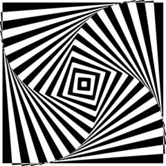 Black and White Optical Illusion Vector Illustration.