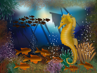 Underwater wallpaper with seahorse and shipwrecks