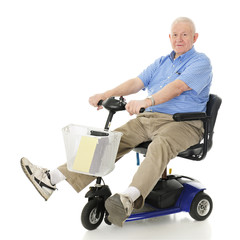 Delighted Senior Scooter Driver