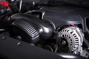 Modern Car Alternator and Engine