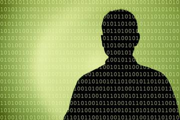 Mensch im Datenfluss grün