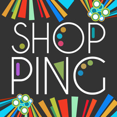Shopping Text Dark Colorful Elements